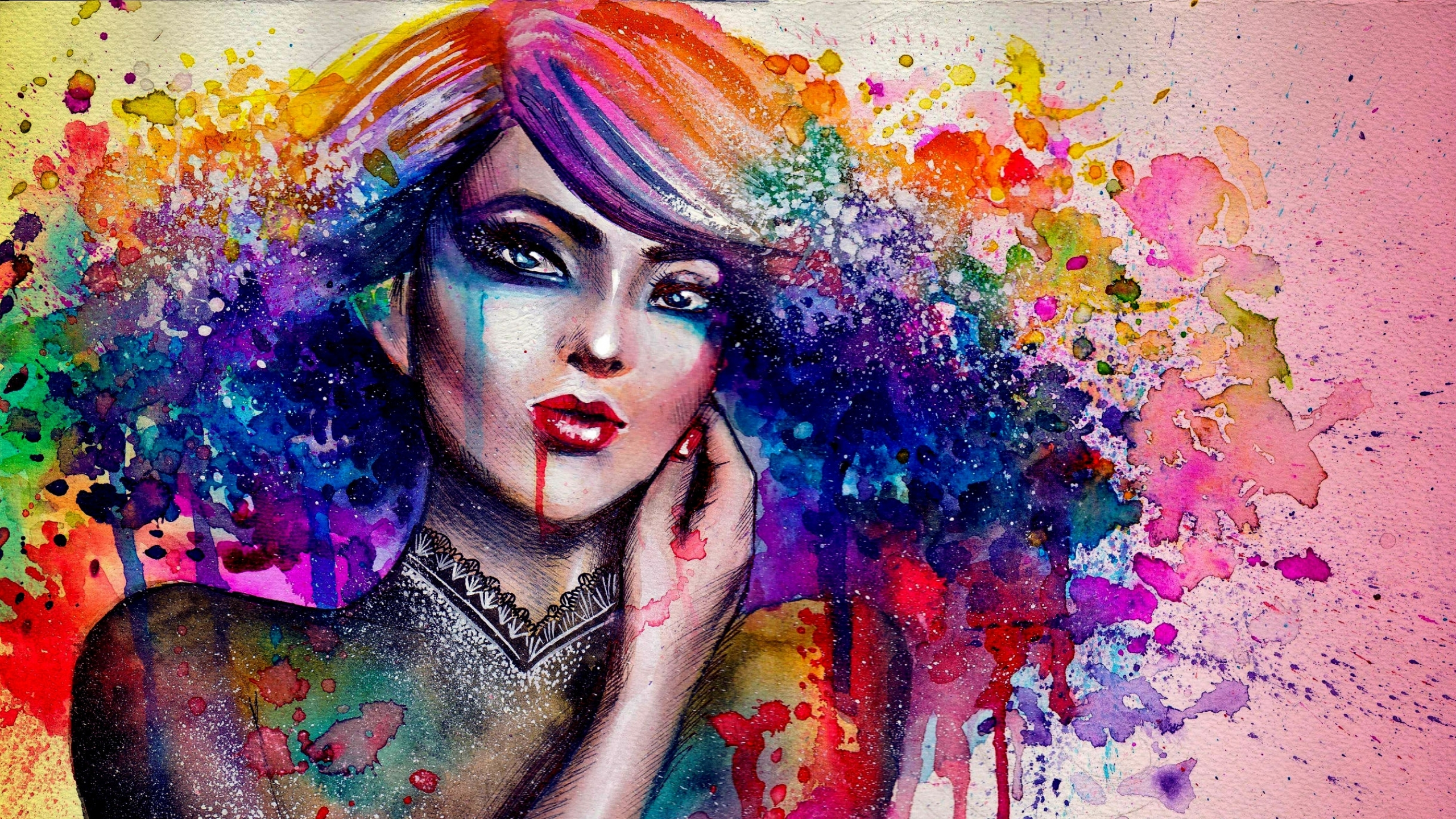 Woman Painting Colorful