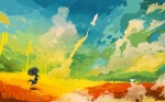 Colorful Drawing Umbrella Rocket Field